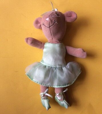 """Soft Toy Angelina Ballerina  Dressed In Green  Removable Dress  9"""" Tall"""