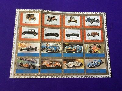 Collectors Unusual Stamps.  16. Ajman State. All Different Cars