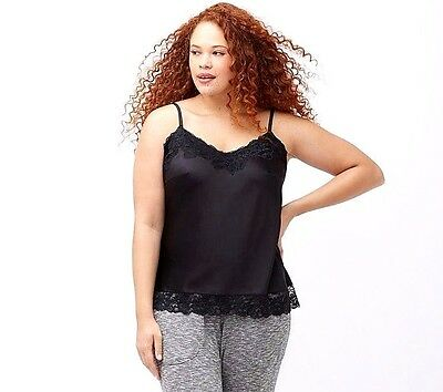 New Cacique Lane Bryant 22/24 Black Satin Lace Camisole Cami Tank Top