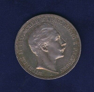 Germany  Prussia 1912-A  3 Mark Silver Coin, Almost Uncirculated/uncirculated