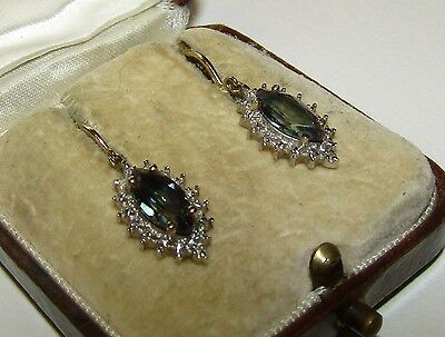 Magical, Antique, 9 Ct Gold Earrings With Fine Natural Alexandrites And Diamonds