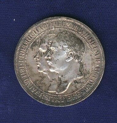 Germany  Prussia 1911-A  3 Mark Silver Coin, Almost Uncirculated/uncirculated