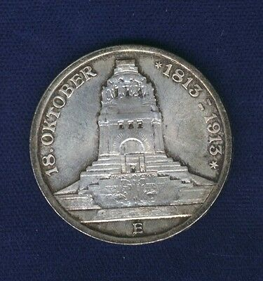 German States  Saxony 1913-E  3 Mark Silver Coin, Uncirculated