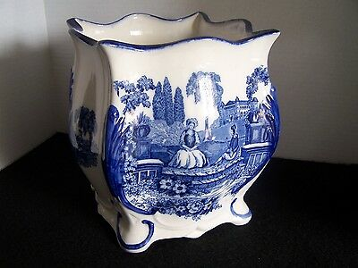 "Vintage Staffordshire Flow Blue PLANTER 'Romantic' Pattern 8-3/4"" Exc Condition"