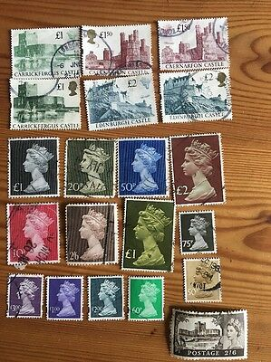 20 High Value Definitive British Gb Used Postage Stamps
