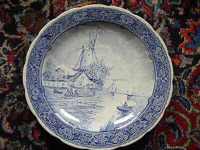 """DELFTS Blue & White TransferWare 12"""" Wall Charger - Dutch - Holland."""