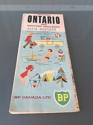 Ontario & Western Provinces Map - BP - British Petroleum - 1965