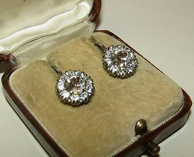 Sparkly, Edwardian, Sterling Silver Earrings With Old Diamond Cut Paste