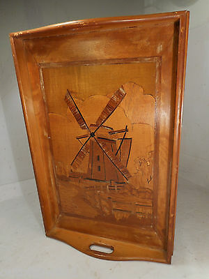 Vintage inlaid  Tray , Windmill    ref 1203