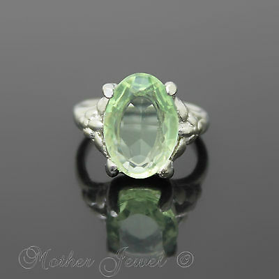 14Mm Green Sterling Silver Plated Cocktail Dress Womens Girls Ring Size 5 J