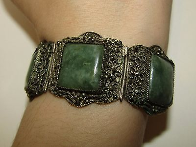 Fine, Antique, Chinese Sterling Silver Bracelet With Natural Jade Gems