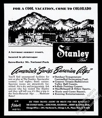 1951 The Stanley Hotel Estes Park Colorado illustrated print ad The Shining