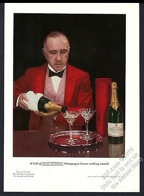 1937 Piper-Heidsieck Champagne bottle photo vintage print ad