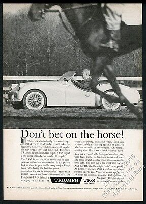 1960 Triumph TR3 TR-3 car racing horse photo vintage print ad