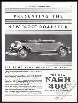 1929 Nash 400 roadster car illustrated vintage print ad
