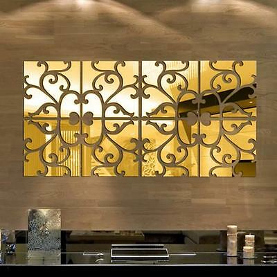32pcs DIY 3D Acrylic Mirror Decal Mural Wall Sticker Home Decor Removable Gold