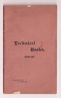 1890 ANTIQUE IRON MANUFACTURING ENGINEERING TECHNICAL BOOKS CATALOG, Williams NY