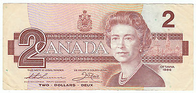1986 One Canadian Bill 2 Two Dollar Canada EBZ6805484 Thiessen Crow Circulated