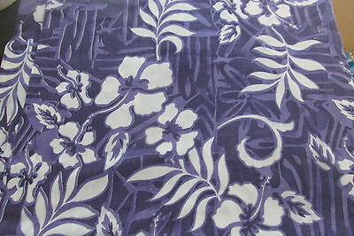 "2 yds Vintage 36"" PURPLE HAWAIIAN FLORAL Sewing Fabric F105-75"