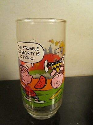 Vintage McDonalds Camp Snoopy Peanuts Drinking Glass Charlie Brown Lucy Linus