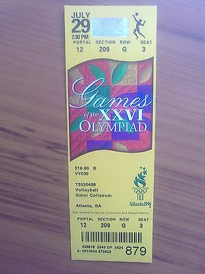 Ticket Olympic Games ATLANTA 29.07.1996 VOLLEYBALL (7:30 PM)