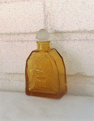 Antique Glass Bottle Elegant Nude in Relief with Stopper