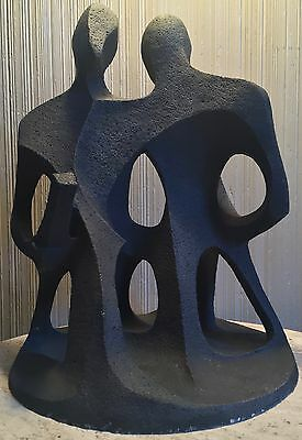 Vintage 1960s Abstract Ceramic Figural Sculpture Mid Century Modern Retro Signed