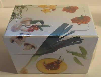Fruit and Vegetable RECIPE BOX with 8 Tabbed Cards and 50 Note Cards NEW SEALED