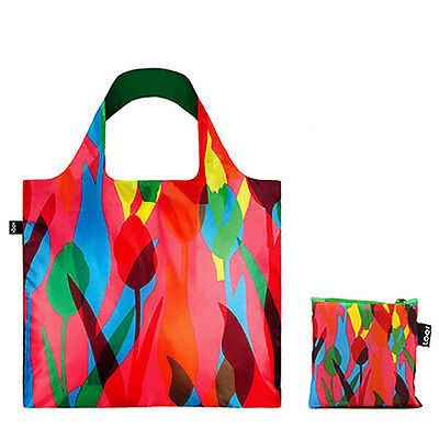 Loqi Tulips Reusable Grocery/Shopping/Tote Bag w/ Zippered Pouch~Eco-Friendly