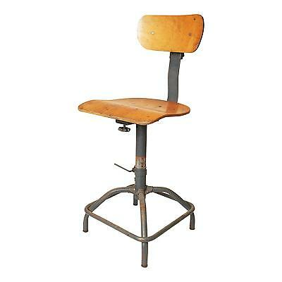 Vintage INDUSTRIAL STOOL steel metal chair seat steampunk factory drafting table