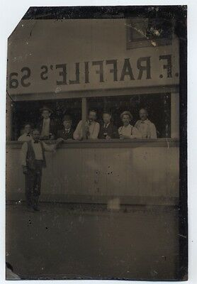 OCCUPATIONAL TINTYPE SALOON Pre-Prohibition EXTERIOR VIEW BARKEEP PINTS OF BEER