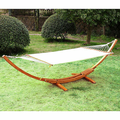 Garden Outdoor Patio Wooden Wood Frame Hammock Arc Stand Sun Swing Bed Seat New