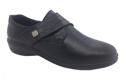 Ladies Shoes Skyline Tammy Leather Black Work Shoe Size 6-10 New Adhesive Tab
