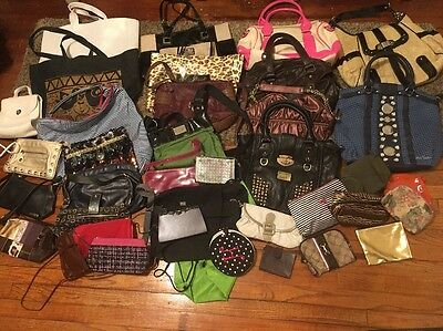 Lot Of 38 Pcs Assorted Purses, Cosmetic Bags, Backpacks, Tote Bags & Wallets