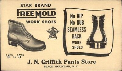 Free Mold Work Shoes JN Griffith Pants Store Black Mountain NC Postal Card