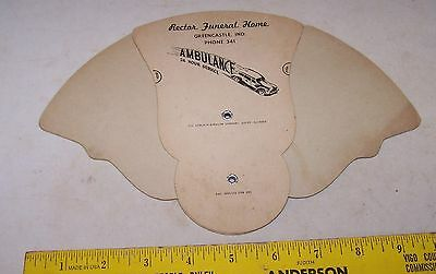 Vintage RECTOR FUNERAL HOME Fan GREENCASTLE INDIANA - Ambulance