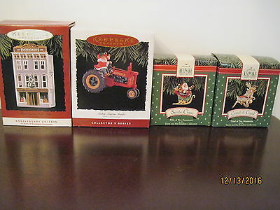 "Lot Of 4 Christmas Keepsake Ornaments ""nostalgic Shops"",santa On Tractor,etc Nib"