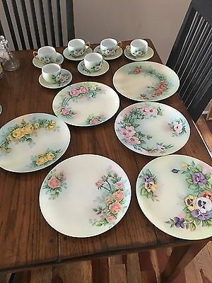 Antique porcelain plates w/ hand painted flowers - set of 6 assorted plates