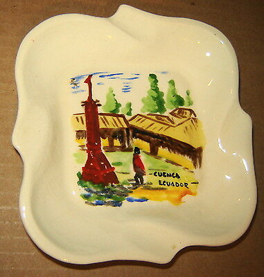 Ecuador Cuenca Hand Painted Porcelain Ashtray