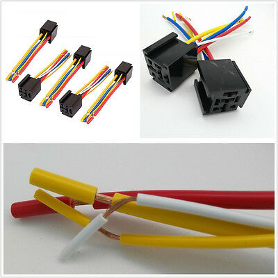 5 Pcs Practical DC12V 80A 5-Pin Car Off-Road Wire Relay Socket Harness Connector