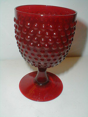 Red Ruby Glass HOBNAIL Water/Wine Goblet