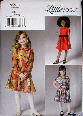 LITTLE VOGUE Childs Girls Lined Back Button Dress Pattern 9141 6-8 NEW