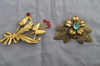 2 Vtg Antique Pins Brooches Gold on STERLING & Reticulated Leaf Flowers AB49