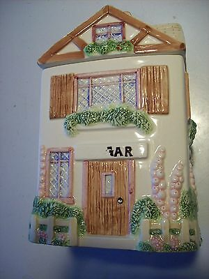 OCI Sugar Victorian Cottage Garden House Home Canister Tan Roof Fence @ cLOSeT