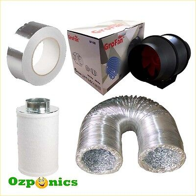 5 Inch Inline Duct Fan Grofan Ducting Carbon Filter Hydroponics Ventilation Kit