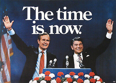 Vintage 1980 Reagan Bush THE TIME IS NOW Jugate Campaign Poster (2700)