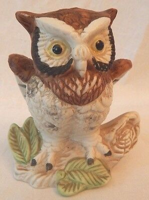 Vintage Owl Figure Brown And White Wings Spread Leaves