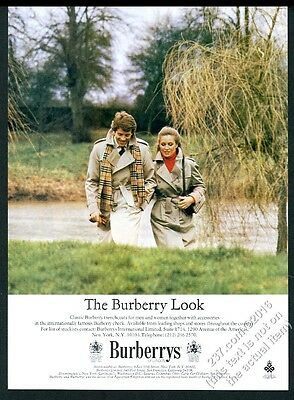 1981 Burberrys woman's man's trenchcoat trench coat scarf photo vintage print ad
