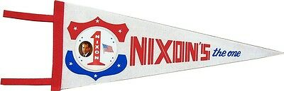 Vintage 1968 Richard Nixon NIXON'S THE ONE Campaign Pennant Flag (4366)