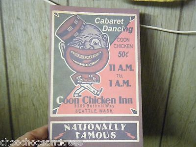 COON CHICKEN INN ''MENU . BLACK Memorabilia . `UNUSUAL! Copy